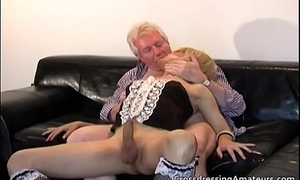 Blonde mouse has fun with a Grandpa