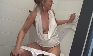 Blonde granny puts toilet shrubs far young boys asshole