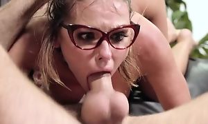 Nerdy chick gets roughly fucked in the library