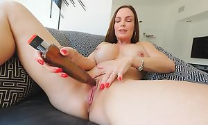 Frisky MILF surrounding broad in the beam honkers fucks myself surrounding a hefty toy