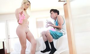 Pale blondie with small cans pleasuring skinny boy apropos brink