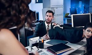 Pair of awesome brunettes lose one's heart to one random in the office